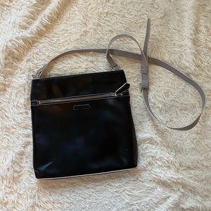 Black and Grey Leather Crossbody